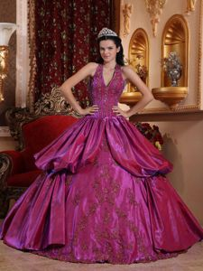 Haltered Fuchsia Appliqued Dress for Sweet 16 with Ruffles