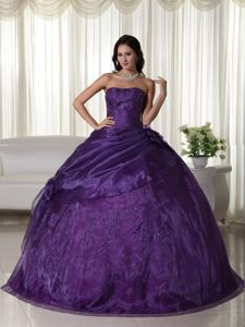 Cheap Embroidery Beading Purple Strapless Dress for Sweet 16