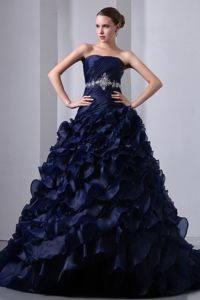 Navy Blue A-line Dresses for a Quince with Appliqued Waist