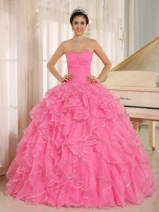 Ruched Bodice Rose Pink Ruffled Quinceanera Gowns