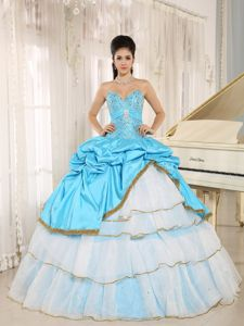 Beading Aqua Blue and White Sweet 15 Dresses with Pick-ups