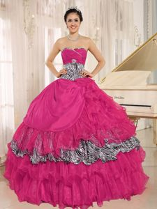 Wholesale Coral Red Dresses for a Quince with Zebra Pattern