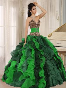 V-neck Colorful Ruffled Sweet 16 Dresses with Leopard Bodice