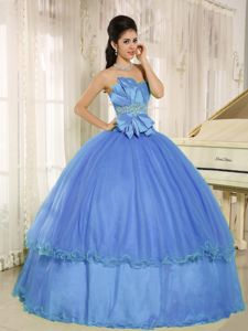Sky Blue Strapless Quinceanera Gowns with Hand Made Flowers