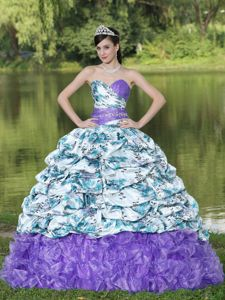 Multi-Color Sweet Sixteen Dresses with Pick-ups and Prints