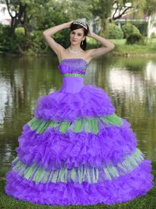 Beautoful Beading Muti-tiered Strapless Quince Dresses with Appliques