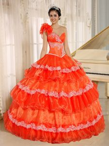 Orange Red One Floral Shoulder Quinceanera Dresses with Tiers
