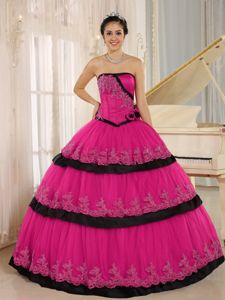Strapless Coral Red Quinceanera Gowns with Hand Made Flowers