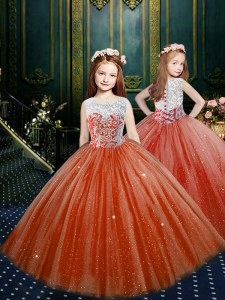 Scoop Floor Length Clasp Handle Child Pageant Dress Orange Red for Party and Wedding Party with Appliques
