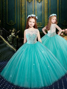 Blue Ball Gowns Scoop Sleeveless Tulle Floor Length Clasp Handle Appliques Kids Pageant Dress