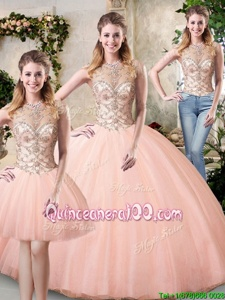 Glittering Scoop Peach Lace Up Sweet 16 Quinceanera Dress Beading Sleeveless Floor Length