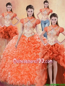 On Sale Four Piece With Train Orange Red Sweet 16 Dresses Straps Sleeveless Brush Train Lace Up