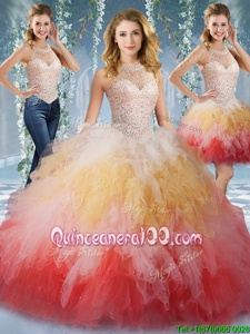 Unique Multi-color Ball Gowns Halter Top Sleeveless Tulle Floor Length Lace Up Beading and Ruffles Ball Gown Prom Dress