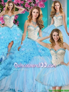 Discount Four Piece With Train Baby Blue Sweet 16 Quinceanera Dress Organza Brush Train Sleeveless Spring and Summer and Fall and Winter Beading and Ruffles