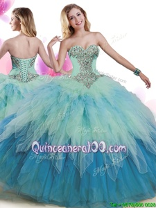 Inexpensive Sleeveless Beading and Ruffles Lace Up 15 Quinceanera Dress