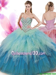 Colorful Sleeveless Tulle Floor Length Lace Up Quinceanera Gowns inMulti-color forSpring and Summer and Fall and Winter withBeading and Ruffles