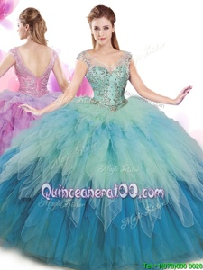 Adorable Multi-color Tulle Lace Up Quinceanera Gowns Cap Sleeves Floor Length Beading and Ruffles