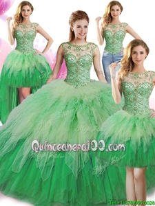 Trendy Four Piece Green Scoop Lace Up Beading and Ruffles Vestidos de Quinceanera Sleeveless