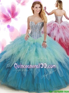 Decent Multi-color Sleeveless Tulle Lace Up Ball Gown Prom Dress forMilitary Ball and Sweet 16 and Quinceanera