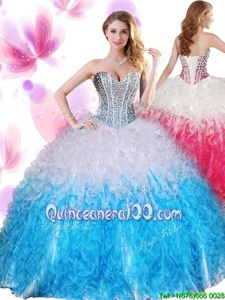 Simple White and Baby Blue Organza Lace Up Sweetheart Sleeveless Floor Length Vestidos de Quinceanera Beading and Ruffles