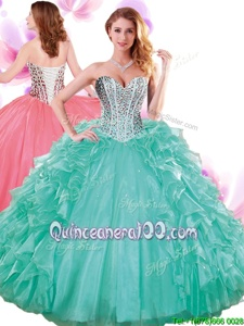 Designer Floor Length Turquoise 15th Birthday Dress Organza Sleeveless Spring and Summer and Fall and Winter Beading and Ruffles