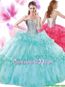 Sweetheart Sleeveless Organza Quinceanera Dress Beading and Pick Ups Lace Up