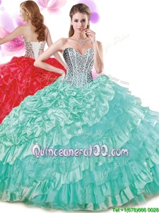 Sweetheart Sleeveless Sweet 16 Dress Floor Length Beading and Ruffled Layers and Pick Ups Turquoise Organza and Taffeta