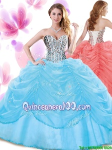On Sale Baby Blue Organza Lace Up Ball Gown Prom Dress Sleeveless Floor Length Beading and Pick Ups