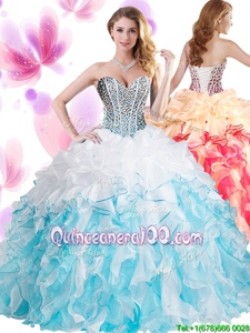 Excellent Floor Length Lace Up 15 Quinceanera Dress Blue And White and In forMilitary Ball and Sweet 16 and Quinceanera withBeading and Ruffles