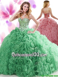 Glittering Beading and Ruffles Quinceanera Dresses Spring Green Lace Up Sleeveless Sweep Train