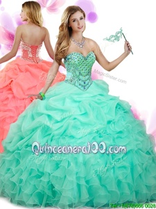 Shining Spring and Summer and Fall and Winter Organza Sleeveless Floor Length Sweet 16 Quinceanera Dress andBeading and Ruffles and Pick Ups