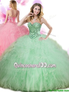 Apple Green Lace Up Sweet 16 Dresses Beading and Ruffles Sleeveless Floor Length