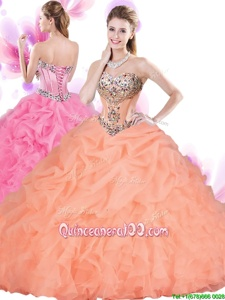 Fancy Floor Length Column/Sheath Sleeveless Orange Red Quinceanera Dress Lace Up