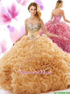 Traditional Orange Lace Up Quinceanera Dresses Beading and Ruffles Sleeveless Court Train