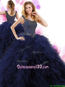 Fantastic Navy Blue Ball Gowns Tulle Scoop Sleeveless Beading and Ruffles Floor Length Zipper Quinceanera Dresses