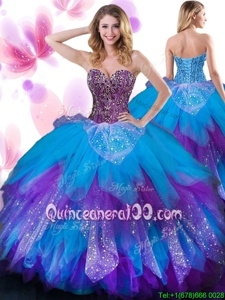 High End Floor Length Multi-color Vestidos de Quinceanera Tulle Sleeveless Spring and Summer and Fall and Winter Beading and Ruffled Layers