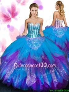 Custom Designed Sweetheart Sleeveless Tulle Vestidos de Quinceanera Beading and Ruffled Layers Lace Up