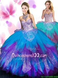 Pretty Multi-color Sweetheart Neckline Beading and Ruffled Layers Sweet 16 Dresses Sleeveless Lace Up