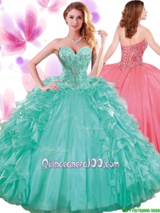 Exquisite Turquoise Sleeveless Beading and Ruffles and Pick Ups Floor Length Quinceanera Dress