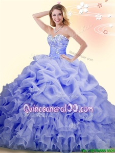 Spring and Summer and Fall and Winter Organza Sleeveless With Train Quinceanera Gown Brush Train andBeading and Ruffles and Pick Ups