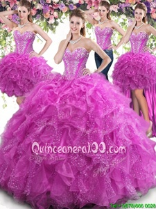 Artistic Four Piece Floor Length Fuchsia Sweet 16 Dress Tulle Sleeveless Spring and Summer and Fall and Winter Beading and Ruffles