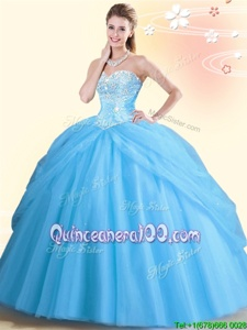New Style Aqua Blue Lace Up Sweetheart Beading Quinceanera Gown Tulle Sleeveless