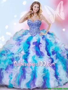 Stunning Beading and Ruffles 15 Quinceanera Dress Multi-color Lace Up Sleeveless