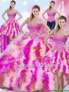 Four Piece Sleeveless Beading and Ruffles Lace Up Ball Gown Prom Dress