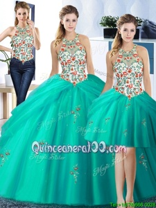 Artistic Three Piece Turquoise Tulle Lace Up Halter Top Sleeveless Floor Length 15th Birthday Dress Embroidery and Pick Ups