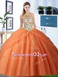 Colorful Halter Top Pick Ups Orange Sleeveless Tulle Lace Up Quince Ball Gowns forMilitary Ball and Sweet 16 and Quinceanera