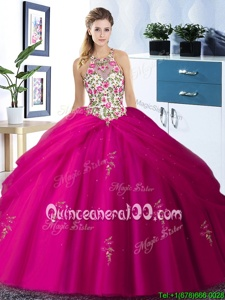 Best Selling Halter Top Sleeveless Embroidery and Pick Ups Lace Up Quinceanera Gown