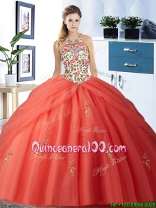 Shining Halter Top Sleeveless Tulle Floor Length Lace Up Sweet 16 Quinceanera Dress inWatermelon Red forSpring and Summer and Fall and Winter withEmbroidery and Pick Ups