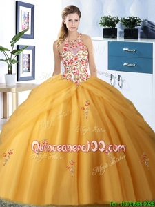 Sumptuous Halter Top Floor Length Gold 15th Birthday Dress Tulle Sleeveless Spring and Summer and Fall and Winter Embroidery and Pick Ups