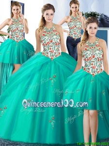 Custom Designed Four Piece Tulle Halter Top Sleeveless Lace Up Embroidery and Pick Ups Quinceanera Dresses inTurquoise